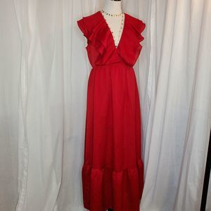 a new day Red Ruffled Prairie Style Dress